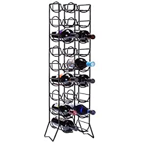 Slim wine rack with narrow footprint black metal 18 wine bottle holder in a floor - Wine rack for small spaces property ...