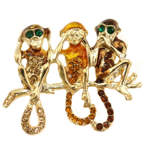 Funny Three Chimpanzee Monkey Animal Pin Brooch