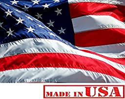 4\'x6\' American Flag 100% American Made U.S. Flag - Embroidered Stars and Sewn Stripes, Top Quality Nylon - Proudly Made in the USA (4 by 6 Foot)