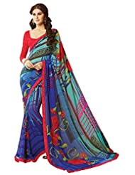 Colors Fashion Blue Faux Georgette Latest Designer Printed Saree With Lace Border Work - B00TU2PJQ4