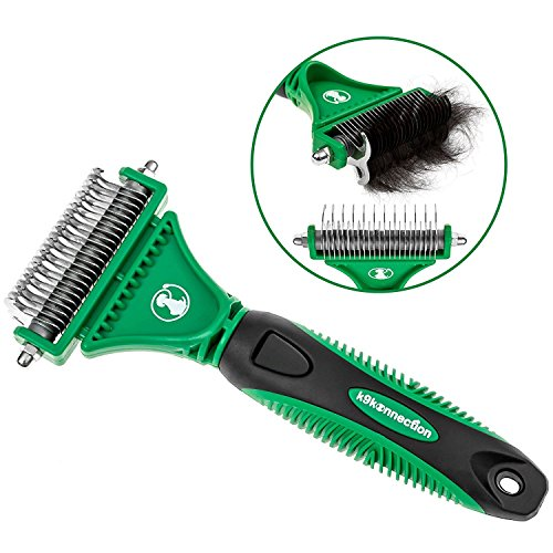 K9KONNECTION Double Sided Dematting Comb & Grooming Brush for Dogs & Cats with Stainless Steel Pet Safe Blades | Tool Removes Undercoat Knots, Mats & Tangled Hair | Veterinarian Approved! (Means Any Skin Type Will compare prices)