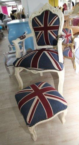 Casa Padrino Barock Esszimmerstuhl mit Armlehnen Union Jack / Creme + dazugehöriger Fußhocker