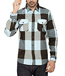 Moksh Men's Checkered Casual Shirt I0414MS14LS (Large)