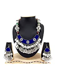 9blings Navratri Special Silver Oxidized And Silver Coin Multi Beads Silver Necklace Set Rn78