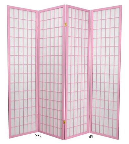 6ft. Window Pane Japanese Shoji Folding Privacy Screen Room Divider - 4 Panel Pink