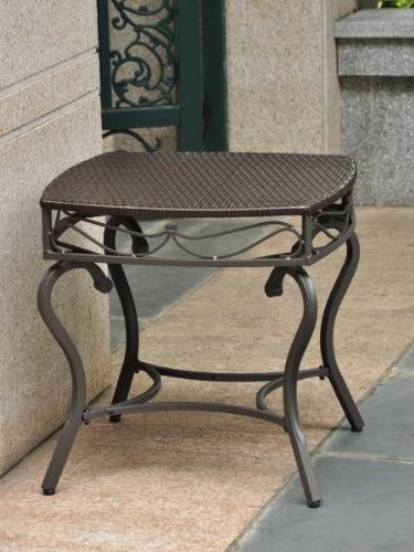 International Caravan International Caravan Lisbon Wicker Contemporary Patio Side Table, Dark Chocolate, Wicker image