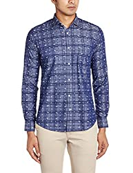 Easies Men's Casual Shirt (8907395200737_81611 CABES E702UASFFSSC PLMBCHNV_X-Large_Multicolor)