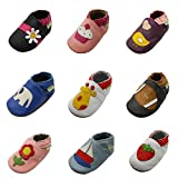 Sayoyo Karikatur Lauflernschuhe Baby Leder weiche Sohle Kugelsicherer Krippe Enfants Schuhe(6-12 Monate, Schwarz)