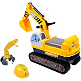deAO 2 in 1 Children Ride-on Excavator Digger Ride On Tractor + FREE safety helmet