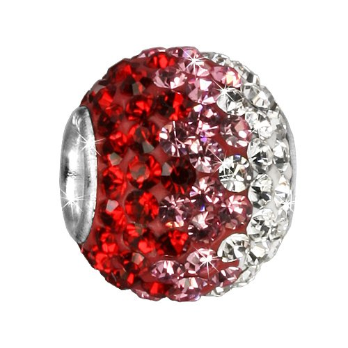 SilberDream Glitter Bead Swarowski Elements red ICE, 925 Sterling Silver Bead, for Bead Bracelet, Necklace or Earring GSB005