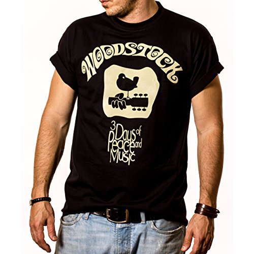 Makaya Men'S T-Shirt Vintage Woodstock Print Black Size M