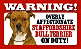 Staffordshire Bull Terrier (Red) Gift - High Gloss Plastic Warning Sign 8