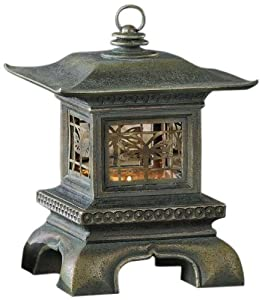 Gift Craft 12.8-Inch Polystone and Metal Pagoda with Dragonflies Design Tea Light/Votive Lantern, Small at Sears.com