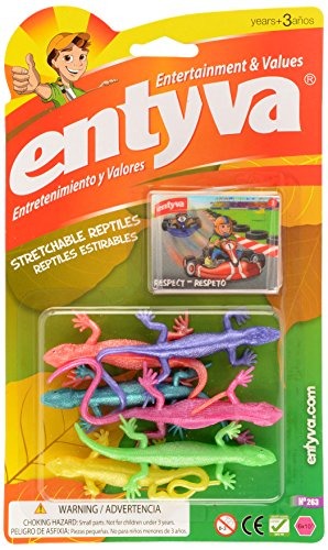 Stretchable Mini Reptiles Toy - Bright Colors- Variety of Models (Lizards, Snakes, Spiders& Snakes, Cocodriles&Frogs) (Assorted Colors- Assorted Styles- May Vary) -Entyva - 1