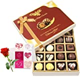 Valentine Chocholik's Belgium Chocolates - Milk And White Collection Of Chocolates With Love Card And Rose