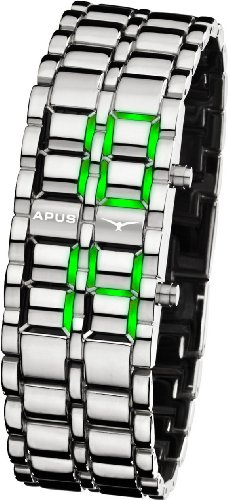 APUS Zeta Silver-Green LED Uhr