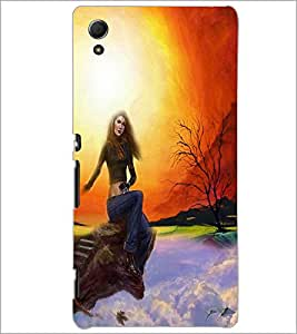 PrintDhaba Sitting Girl D-4190 Back Case Cover for SONY XPERIA Z4 (Multi-Coloured)