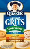 Quaker Instant Grits Flavor Variety, 12-Count Boxes (Pack of 12)