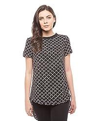 Shuffle Women's Plain Shirt (1021506101_Black Mix_Large)
