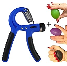 Adjustable Hand Gripper and 3 Hand Grip Balls - Resistance Range of 22lbs to 88lbs - Blue