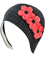 Latex Bubble Crepe Swim Bathing Cap with 3 Flowers (Available in 4 Colors)