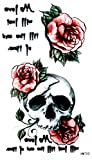Grashine new design temporary tattoo stickers Skull head with pink roses tattoo stickers