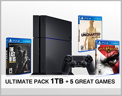 PlayStation-4-Konsole-1-TB-5-Spiele-The-Last-of-us-God-of-war-3-Uncharted-The-Nathan-Drake-Collection-MEGA-Players-Pack