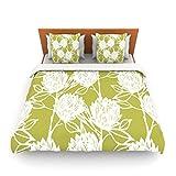 "Kess InHouse Gill Eggleston ""Protea Olive White"" Green Flowers King Fleece Duvet Cover, 104 by 88-Inch"