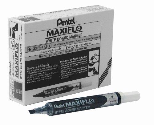 pentel-maxiflo-marqueur-pointe-fine-biseautee-effacable-a-laide-dun-chiffon-sec-noir-lot-de-12