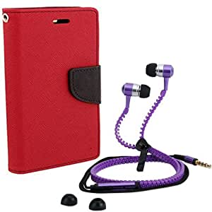 Aart Fancy Diary Card Wallet Flip Case Back Cover For HTC 526-(Red) + Zipper earphones/Hands free With Mic *Stylish Design* for all Mobiles By Aart store