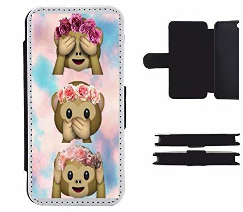 """Cuoio Cases Smartphone Samsung Galaxy S5 """"Three Monkeys non vedere il male sentire dire con nuvole"""", probabilmente la più bella di protezione per smartphone di tutti i tempi."""