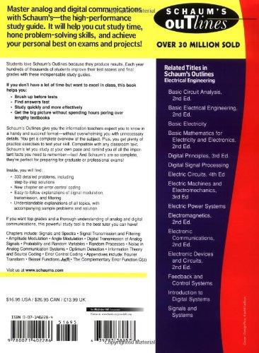Schaum's Outline of Analog and Digital Communications (Schaum's Outline Series)