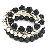 Shining Diva Fashion Pretty & Trendy Black Roses Bracelets for Girls
