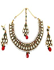 Aria Diwali Collection Kundan Ruby Pearl Gold Plated Temple Jewellery Necklace Set P65