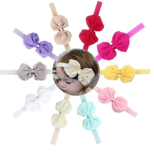 10Pcs Headband Baby Hair Kids Girl Cute Flower bow Accessories band Gift Headwrap (Robin Outfit For Babies)