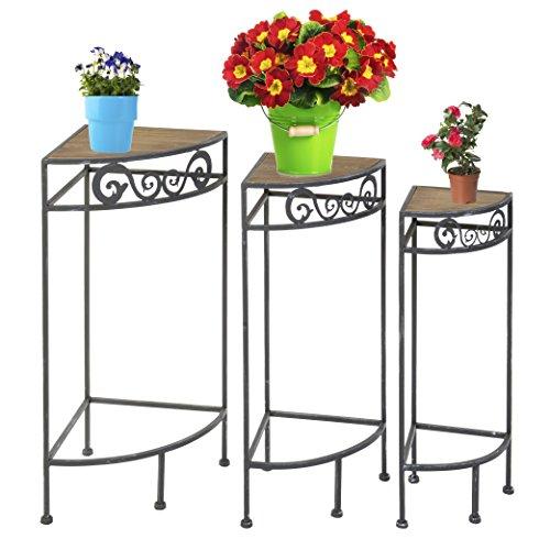 Lot 3 Étagères d'angle gigognes en métal et bois MDF - Effet métal blanchi - Pour vos plantes ou objets déco !