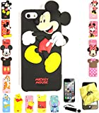 Bukit Cell ® 3D Cartoon Case Bundle - 4 items: ANIMATED MICKEY Cute Soft Silicone Case Cover for iPhone 5S 5 5G + BUKIT CELL Trademark Lint Cleaning Cloth + Screen Protector + METALLIC Stylus Touch Pen with Anti Dust Plug