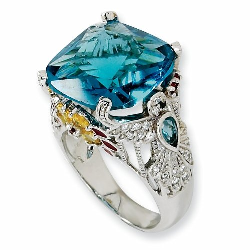 Sterling Silver Enameled Simulated Blue Topaz/Cubic Zirconia Hummingbird Ring (Size 7)