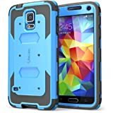 i-Blason Samsung Galaxy S5 Case - Armorbox Dual Layer Hybrid Full-body Protective Case with Front Cover and Built-in Screen Protector / Impact Resistant Bumpers (Blue)