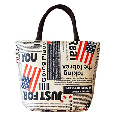 Sealike Vintage Retro American Flag Picnic Lunch Bag Tote Bag Handbag Lunch Organizer for Women Girls with Stylus - 1
