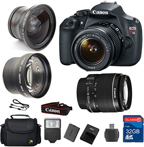 Value-Bundle-for-T5-DSLR-Camera-18-55-IS-II-Lens-Wide-Angle-Lens-Telephoto-Lens-32GB-Memory-Card-Reader-Flash-Camera-Case