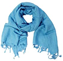 Lightweight and Casual Solid Color Cotton Scarves Available in Multiple Colors (Baby Blue)
