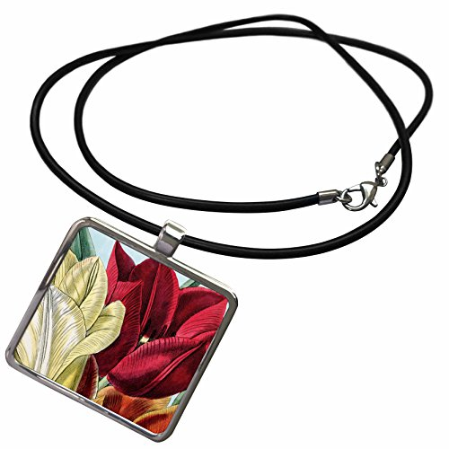 3dRose PS Vintage - Vintage Tulip Flowers - Necklace With Rectangle Pendant (ncl_203816_1)