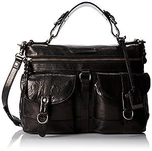 FRYE Josie Satchel Top Handle Handbag,Black,One Size