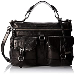 FRYE Josie Satchel Top Handle Handbag,Black,One Size
