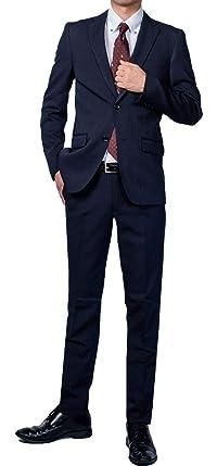 Richard&Neil (Richard&Neil) 豊富なデザイン メンズ ビジネス スーツ スリム デザイン 裾上げテープ付き ネイビー ストライプ YA4~BE8