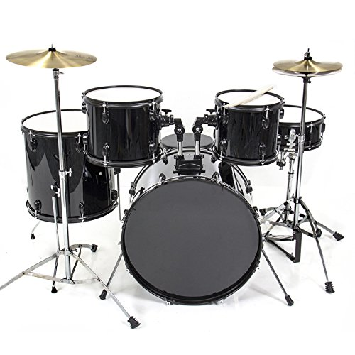 Drum Set 5 PC Complete Adult Set Cymbals Full Size Black New Drum Set (Bunbury Box Set compare prices)