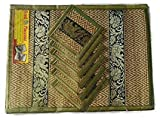 Thai Brown Elephant Silk and 6 Reed Dining Table Mats & 6 Drinks Coasters placemat