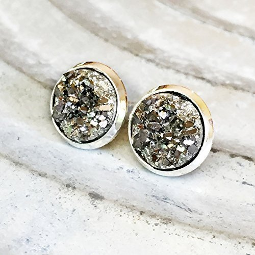 gunmetal-gray-faux-druzy-silver-tone-10mm-stud-earrings