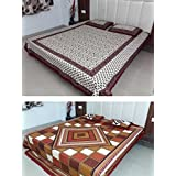 Snoopy Heritage Jaipuri, Combo Of Red Floral Print & Maroon Mughal Floral Art Print Double Bed Sheet (4 Complimentary...